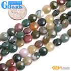 """Natural Stone Indian Agate Coin Beads Free Shipping Strand 15"""" 6mm 8mm 10mm 12mm"""