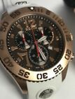 New Mens giantto titanic T7 White Strap Swiss Chronograph Brown Dial Watch