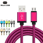 US 3~10FT Braided USB Cable Lightning iOS Android Aluminium Data Sync Charger