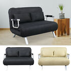 Full Size Convertible Sofa Sleeper Bed Lounger Chair Faux Suede Cover w Pillow