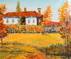 European art vinatge oil painting cityscape country house signed