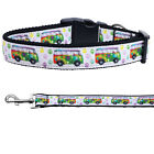 Peace Bus Nylon Dog Collar with Matching 6 Ft. Leash