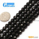 """Natural Black Agate Onyx Gemstone 64 Faces Round Beads For Jewelry Making 15"""" GB"""