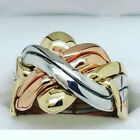 14k Tricolor Gold - 6 Band Turkish Puzzle Ring - Worldwide FREE SHIPPING