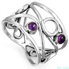 925 sterling silver wide band ring purple stone gemstone Birthstone size 6.5 8.5