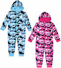 Girls 1Onesie1 Pyjama Heart Camo Micro Fleece All In One Nightwear 7 - 13 Years