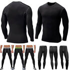 Mens Base Layer Compression Long Sleeve T-shirt Tee Shirt Long Trousers Pants US