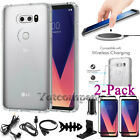 For LG V30 / V30 Plus Clear Case Cover Tempered Glass Shockproof Impact Hybrid