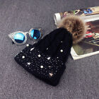 Winter Warm Fashion Women Lady Faux Fur Ball Crochet Knitted Ski Hat Cap Beanie