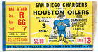 San Diego Chargers Vs. Houston Oilers December 3, 1961 Ticket $125.0 USD on eBay
