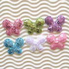 """60 pcs x 1"""" Shiny Sequined Felt Butterfly Padded Appliques for Hair Bows ST383"""