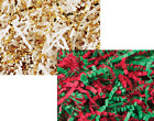 Внешний вид - Crinkle Cut Paper Shred  Gift Basket Filler Gold, White, Red Green mixed  8oz