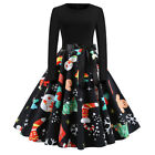 Christmas Cocktail Retro Women Reindeer Xmas Dress Santa Belt Swing Pin up Party