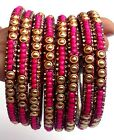 Wedding Fashionable Styles 8 Pcs.Bangles Chudis Pink Beeds Cz Perals  Metal Work
