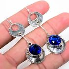 "Excellent Madgascar Blue Sapphire Gemstone Jewelry Earring 2.6""KE6334"