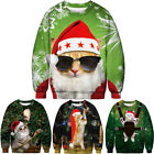 3D Christmas Funny Cat Jumper Pullover Sweater Xmas Sweatshirts Mens Womens Tops