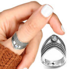 Sterling Silver Moonstone Ring Gemstone Thumb Wide Boho Chunky Chevron Size 6 9