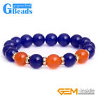 10mm Round Orange Blue Jade Beads Elastic Bracelet Jewelry 7.5'' Christmas Gift
