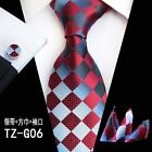 Fashion Men's Silk JACQUARD WOVEN Ties Cufflinks Pocket Square Wedding gift