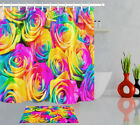 72ins Polyester Fabric Shower Curtain Liner Romantic Rainbow Roses Bathroom Set