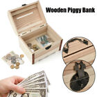 Wooden Piggy Bank Safe Money Box Savings With Lock Wood Carving Handmade Gift F3