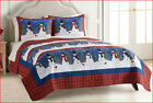 3 pc- St Nicholas SNOWMAN Patchwork Reversible QUILT + SHAMS - Plaid Birds Trees