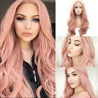 Women Pink Lace Front Lace Front Heat Resistant Synthetic Hair Cosplay  Wig HA