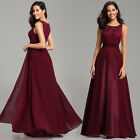 Ever-pretty Long A-line Burgundy Evening Party Dresses Cocktail Chiffon Gowns