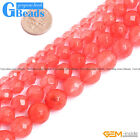 Red Watermelon Tourmaline Crystal Quartz Faceted Round Beads Free Shipping 15""