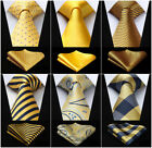 20 Style Silk Ties Checks Striped Yellow Gold Men's Necktie Handkerchief Set $6.99 USD on eBay