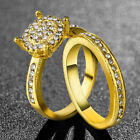 Charm Women Gold Silver Plated Crystal Cubic Zircon Weeding Rings Set Size 5-12