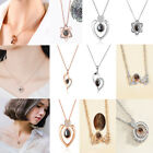 Rose Gold Silver 100 Languages Light I Love You Projection Pendant Necklace Gift