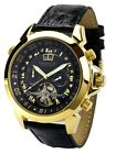 "Calvaneo LUXURYLINE  ""Astonia DIAMOND GOLD BLACK"" gelb vergoldete Automatikuhr"