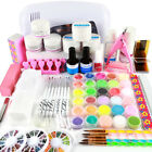 Professional Nail Art Acrylic Powder Kit UV Gel Kit Tools Brush Tips 9W Lamp Set