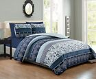 6 Piece Navy/White Paisley Reversible Bedspread/Quilt Set image