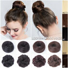Women Remy Human Hair Rubber Band Drawstring Bun Curly Clip in Extension Chignon