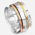 Spinner Solid 925 Silver Ring Wide Band 3 Tone Golden Men's Wpmen's