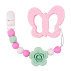 Dummy Clips with Teether Baby Girls Pacifier Chain Silicone Teething Relief Toys
