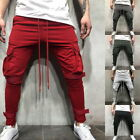 Men's Gym Fitness Workout Pants Cargo Pockets Jogging Drawstring Sweatpants