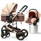 Luxury 3 In 1 Baby Stroller Pushchair W/ Infant Basket Car Seat Foldable Buggy <br/> Have CPSC,SGS,CE Certificate 100% Safe, Non-toxic