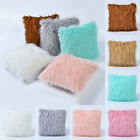 Plain Solid Plush Fur Fluffy Cushion Cover Throw Pillow Case Sofa Bed Decoration