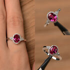 Womens Red Ruby Cz 925 Silver Plated White Topaz Rings Jewelry Gifts Size 6-10