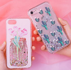 Quicksand Case For iPhone Hard Plastic Back Cover  Floral Glitter Shell Coque Sh