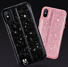 Bling Glitters Leather Phone Back Case Cover Strap Stand For iPhone XS 7 8 Plus