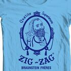 Zig Zag blue T-shirt retro vintage 70's hippie graphic printed 100% cotton tee image