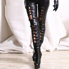 Sexy Women Leather Pants Low Waist Skinny Lace Up Pencil Trousers Leggings Punk