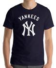 New York YANKEES Navy T-Shirt WHITE Graphic Cotton Adult Logo Jersey NY S-2XL on Ebay