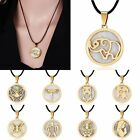 Fashion Round Gold Stainless Steel Shell Pendant Necklace Leather Chain Jewelry