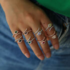 925 Silver Fashion Multicolor Birthstone Snake Ring Adjustable Size Open Jewelry