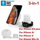 White 3in1 Qi Wireless Fast Charger Base Stand For Apple Watch Airpods iPhoneX S